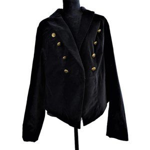 Torrid Velvet Military Blazer Crop Black 3X